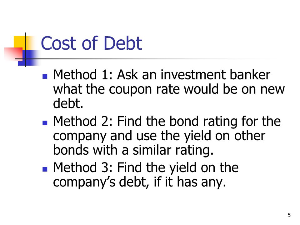 Cost of Debt Method 1: Ask an investment banker what the coupon rate would be on new debt.