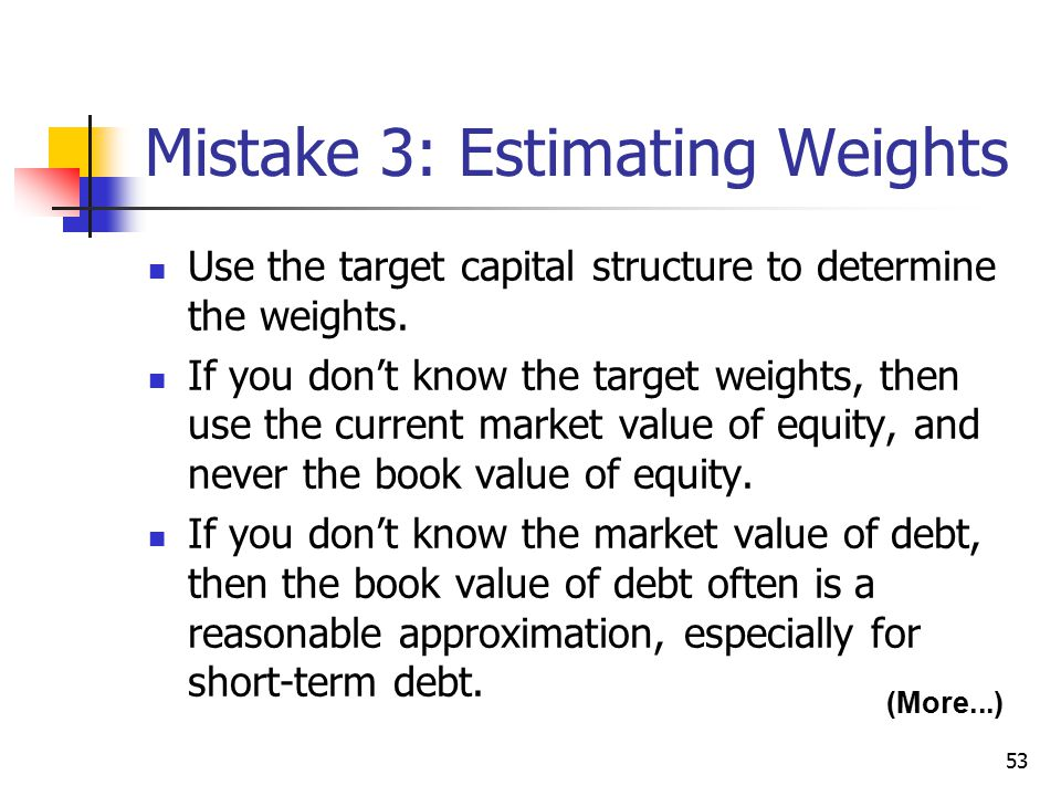 Mistake 3: Estimating Weights