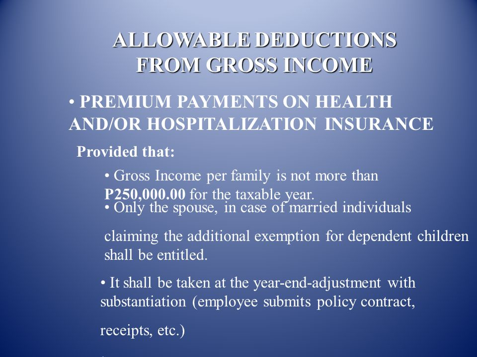 ALLOWABLE DEDUCTIONS FROM GROSS INCOME