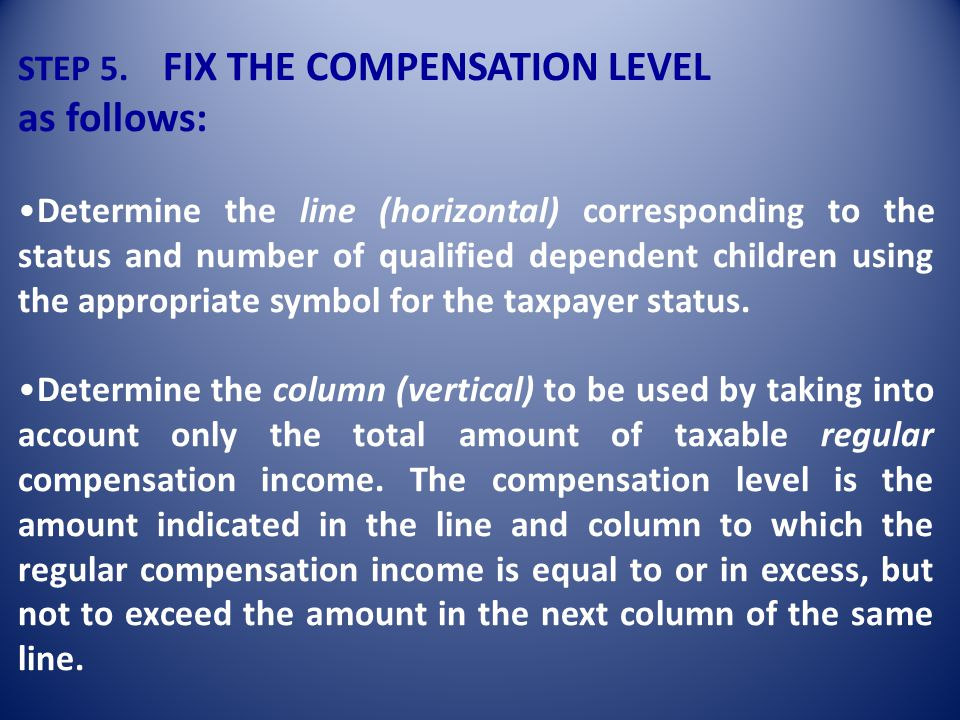 as follows: STEP 5. FIX THE COMPENSATION LEVEL