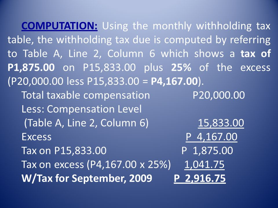 COMPUTATION: Using the monthly withholding tax table, the withholding tax due is computed by referring to Table A, Line 2, Column 6 which shows a tax of P1,875.00 on P15,833.00 plus 25% of the excess (P20,000.00 less P15,833.00 = P4,167.00).