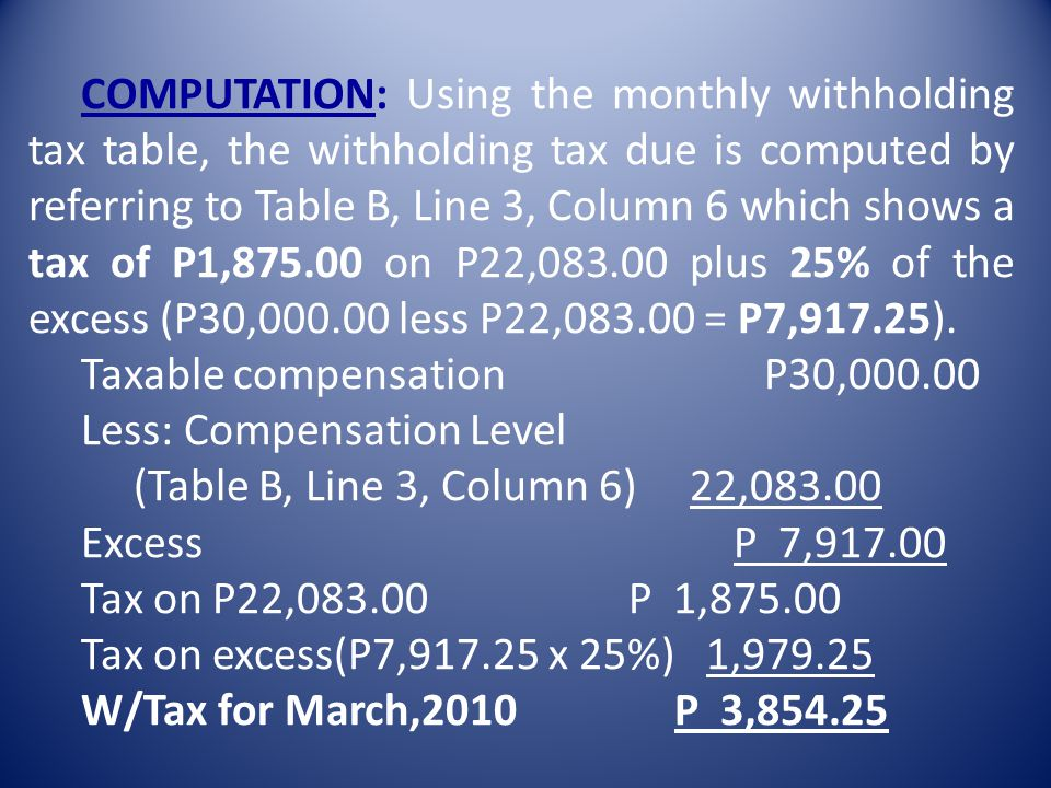 COMPUTATION: Using the monthly withholding tax table, the withholding tax due is computed by referring to Table B, Line 3, Column 6 which shows a tax of P1,875.00 on P22,083.00 plus 25% of the excess (P30,000.00 less P22,083.00 = P7,917.25).