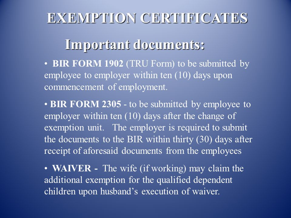 EXEMPTION CERTIFICATES Important documents: