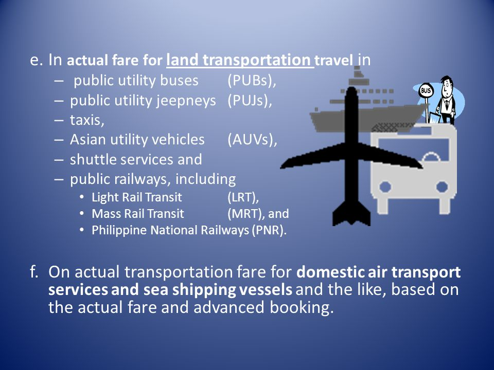 In actual fare for land transportation travel in