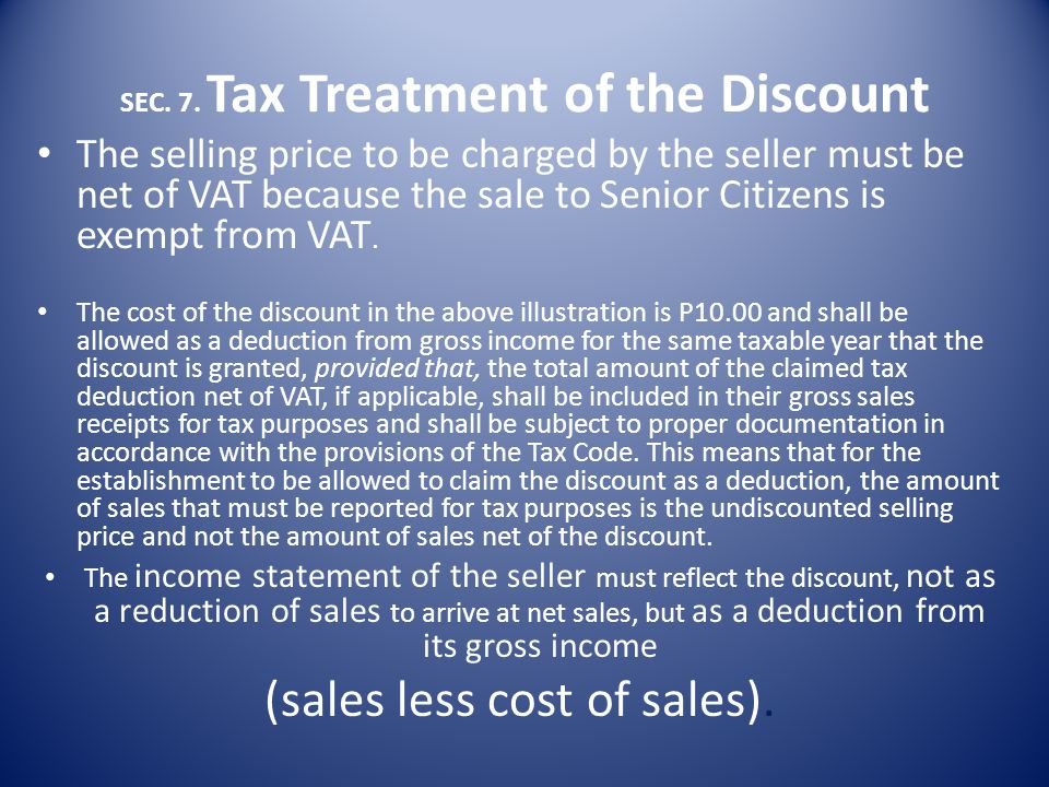 SEC. 7. Tax Treatment of the Discount