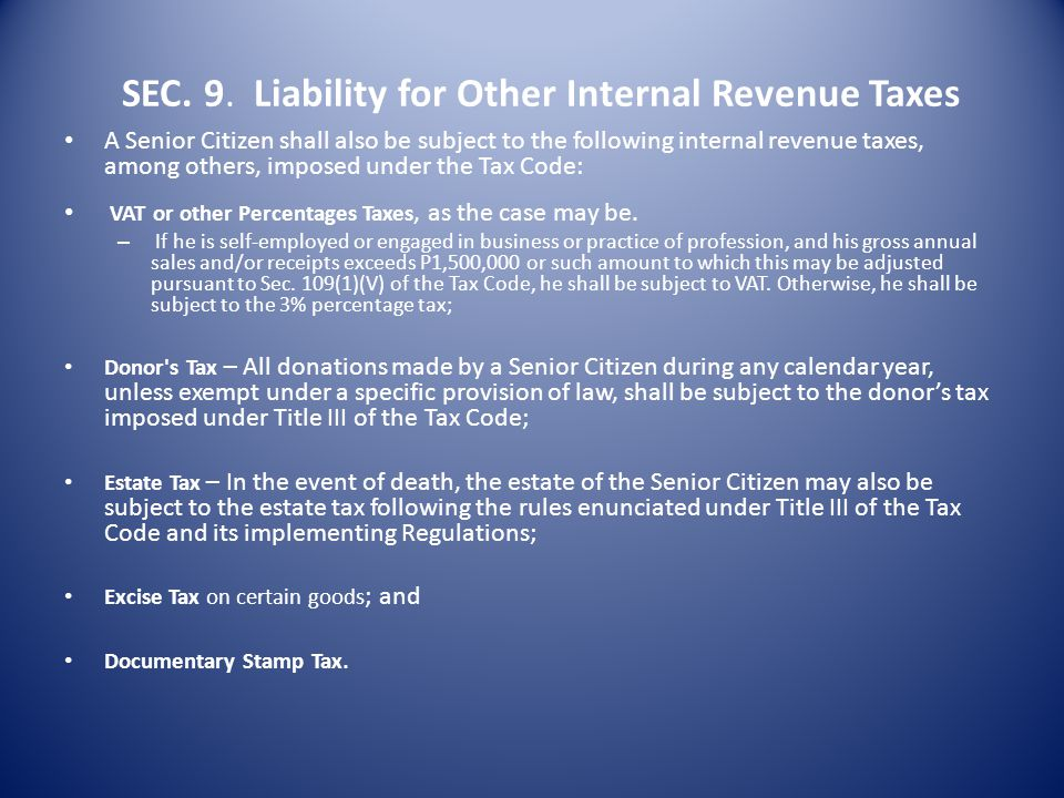 SEC. 9. Liability for Other Internal Revenue Taxes