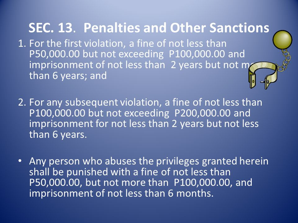 SEC. 13. Penalties and Other Sanctions