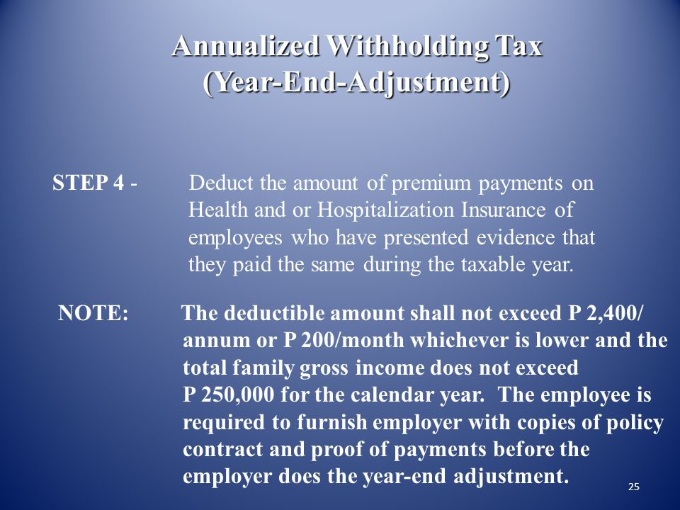 Annualized Withholding Tax (Year-End-Adjustment)