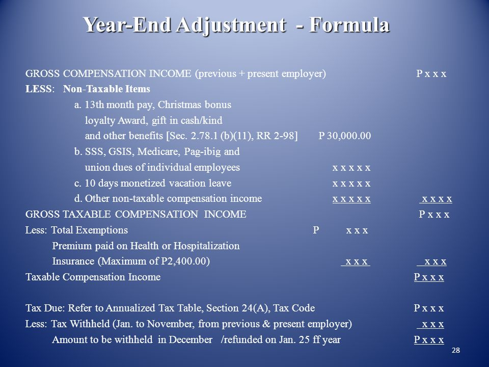 Year-End Adjustment - Formula