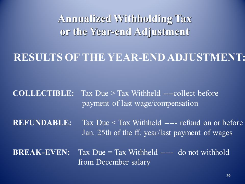 Annualized Withholding Tax or the Year-end Adjustment