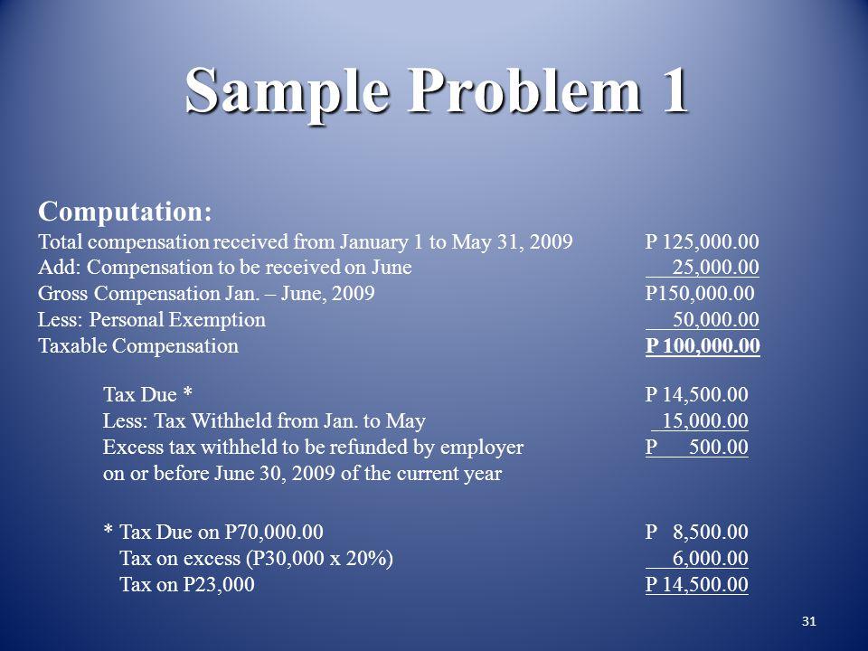 Sample Problem 1 Computation: