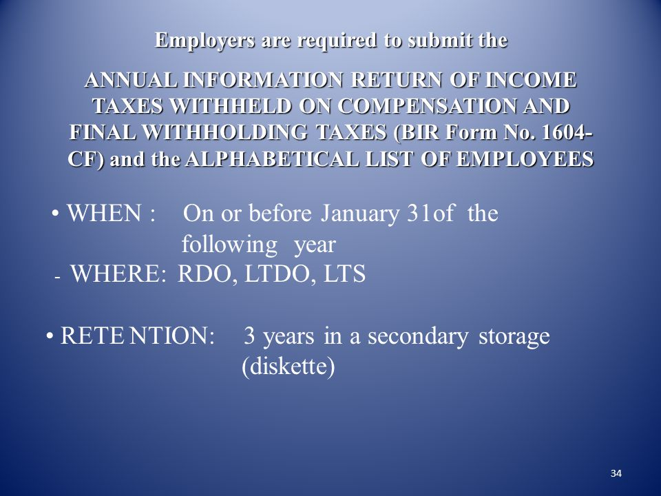 Employers are required to submit the