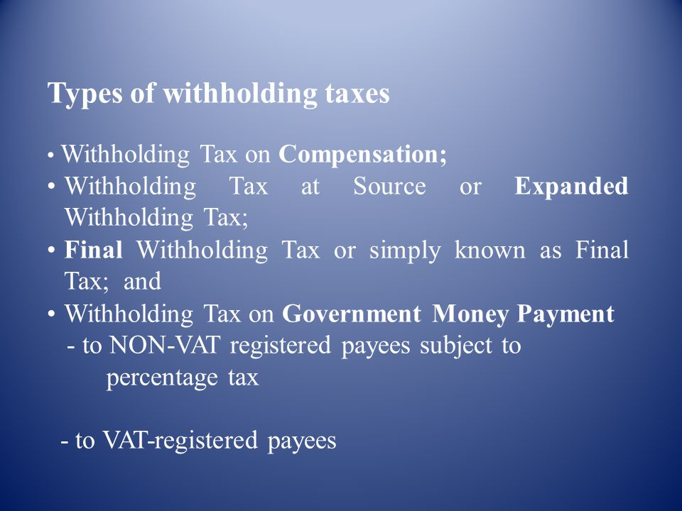 Types of withholding taxes