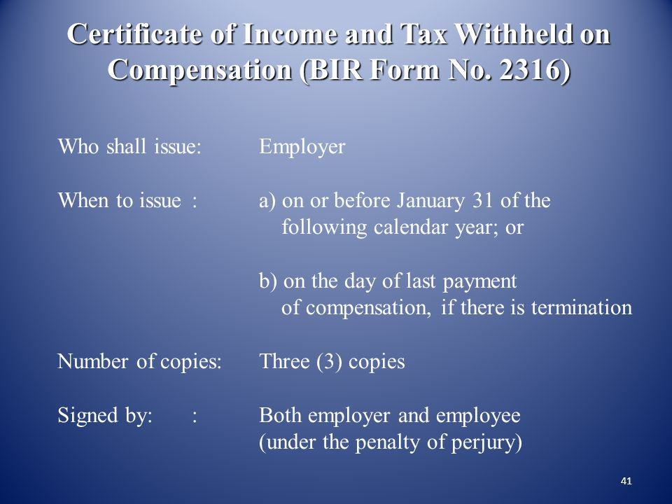 Certificate of Income and Tax Withheld on Compensation (BIR Form No
