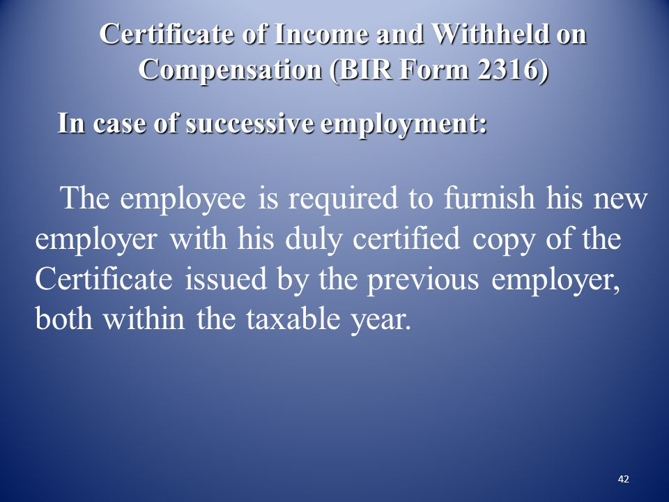 Certificate of Income and Withheld on Compensation (BIR Form 2316)