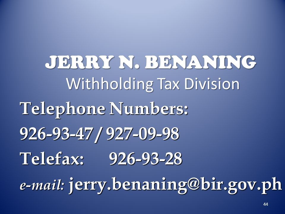 JERRY N. BENANING Withholding Tax Division