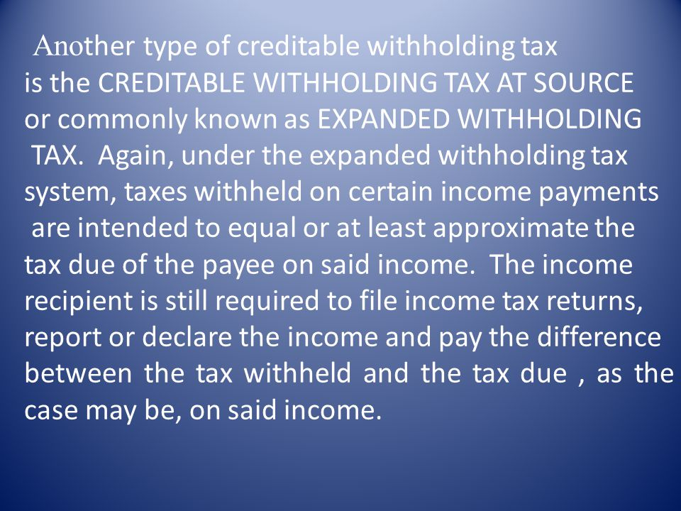 Another type of creditable withholding tax