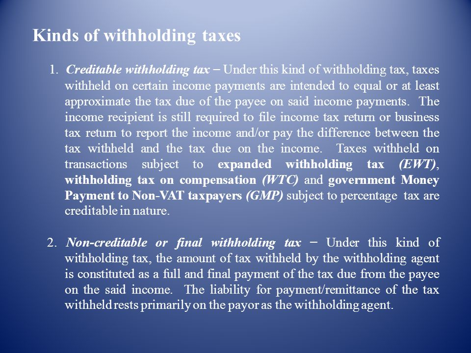 Kinds of withholding taxes