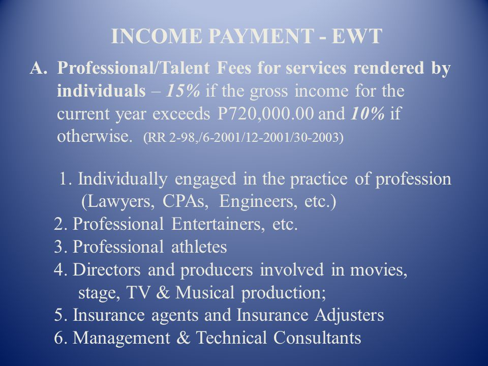 INCOME PAYMENT - EWT