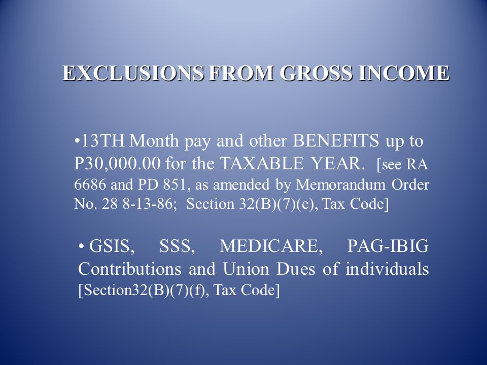 EXCLUSIONS FROM GROSS INCOME