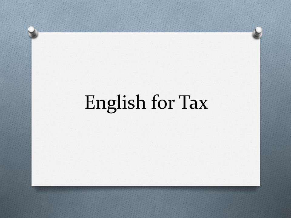 English for Tax
