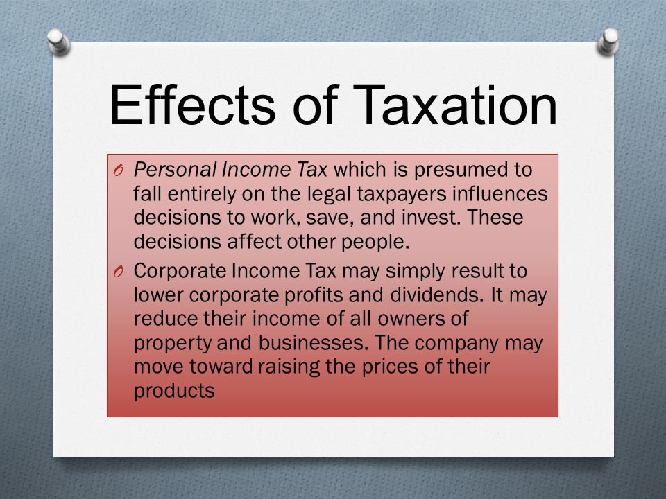 Effects of Taxation
