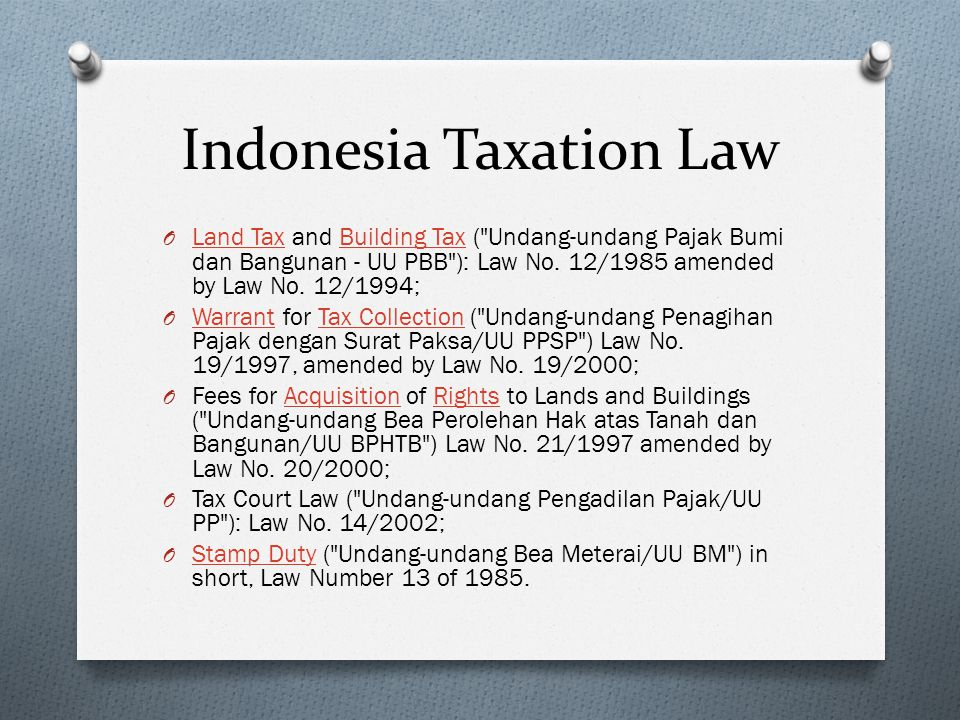 Indonesia Taxation Law