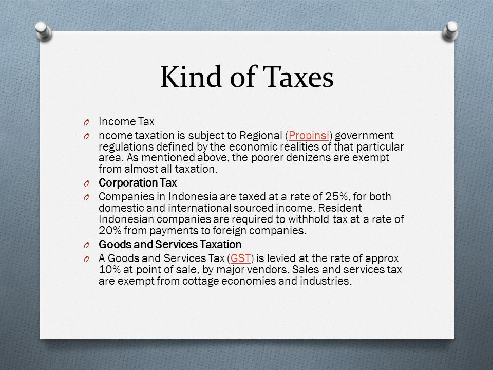 Kind of Taxes Income Tax