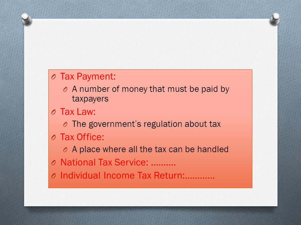 Individual Income Tax Return:............