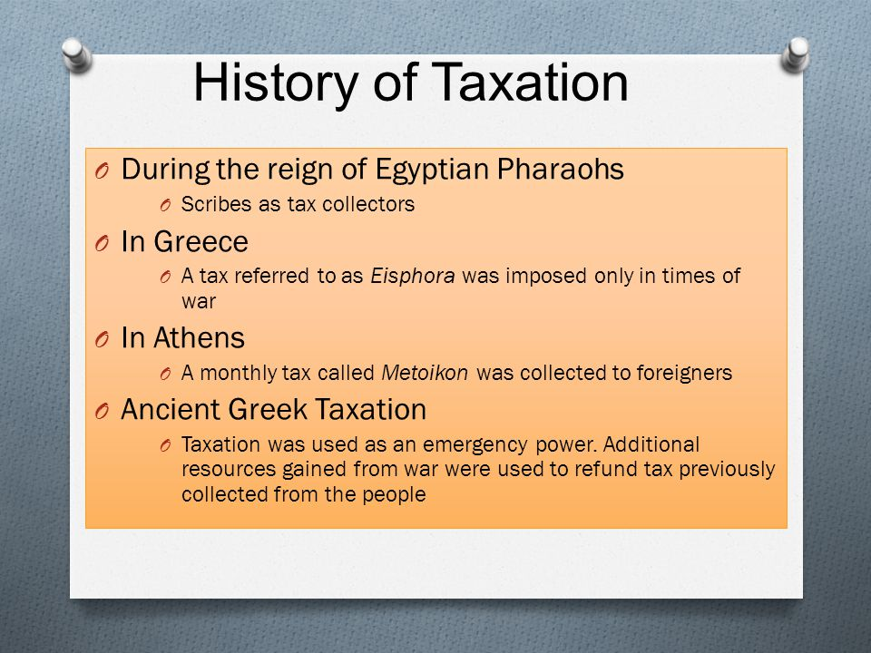 History of Taxation During the reign of Egyptian Pharaohs In Greece