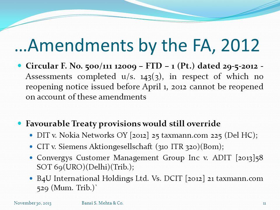 …Amendments by the FA, 2012