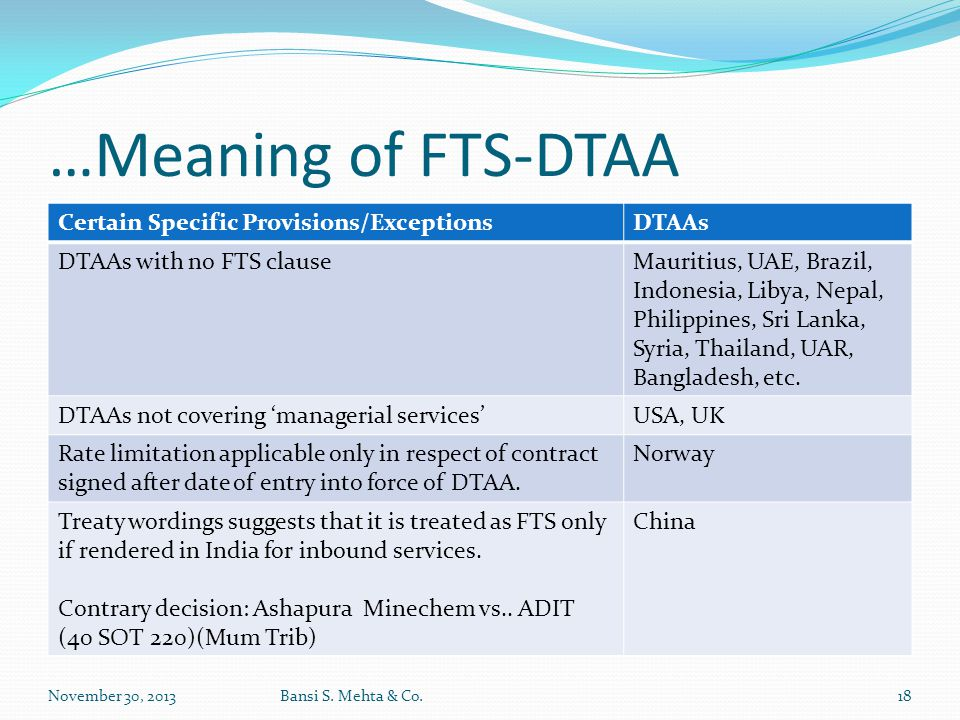 …Meaning of FTS-DTAA Certain Specific Provisions/Exceptions DTAAs