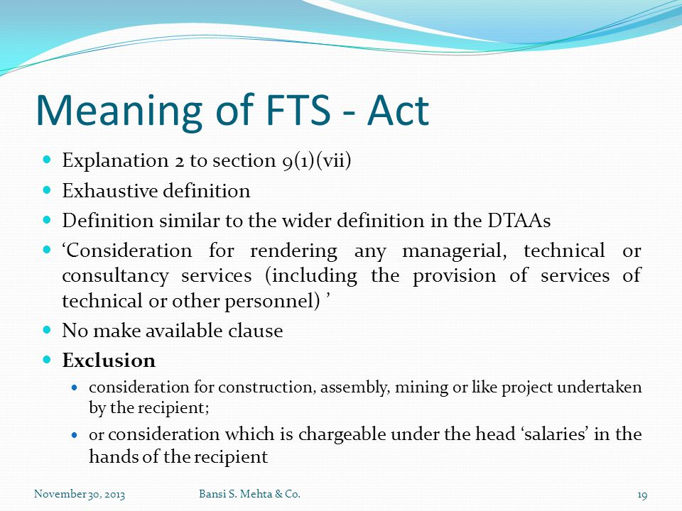 Meaning of FTS - Act Explanation 2 to section 9(1)(vii)