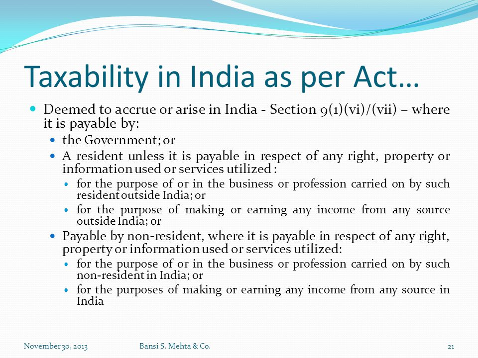 Taxability in India as per Act…