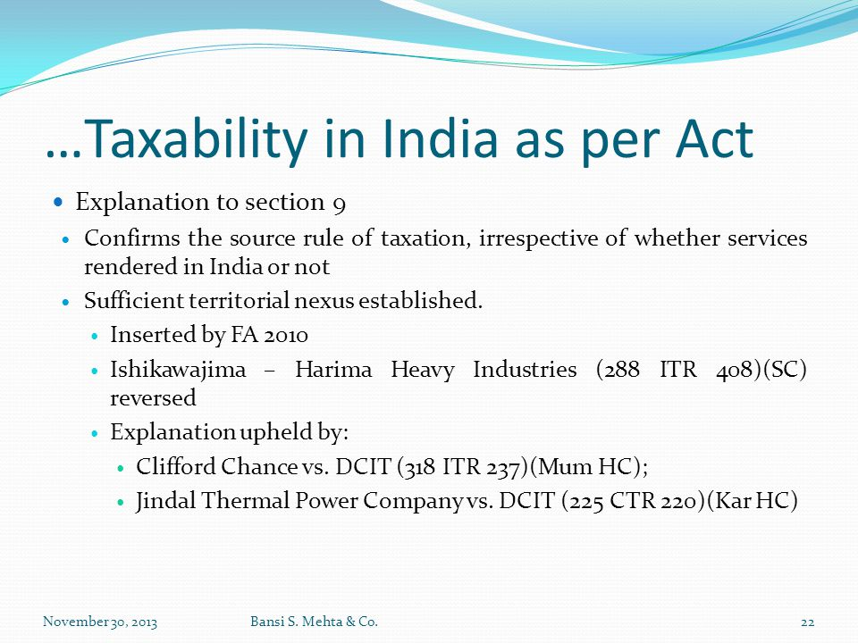 …Taxability in India as per Act