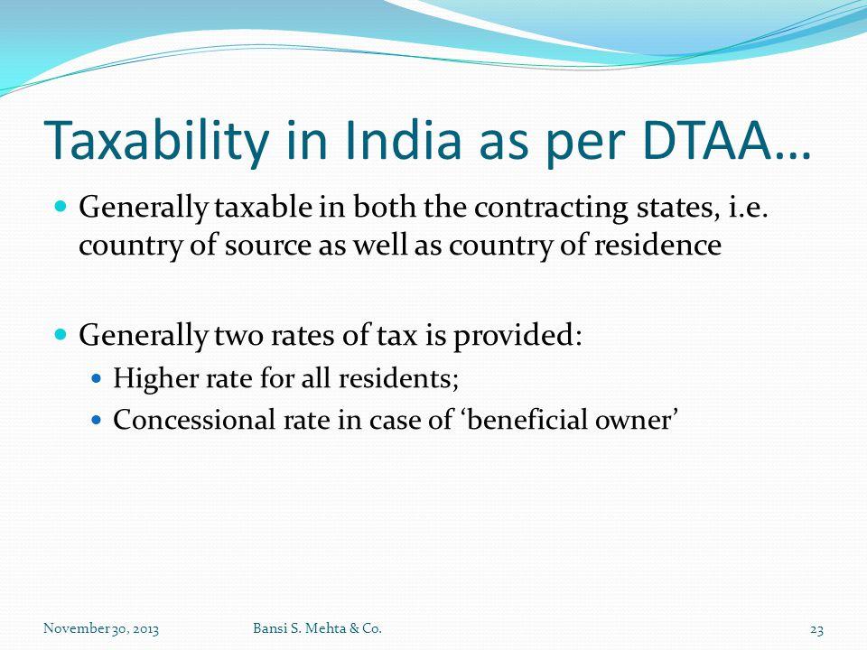 Taxability in India as per DTAA…