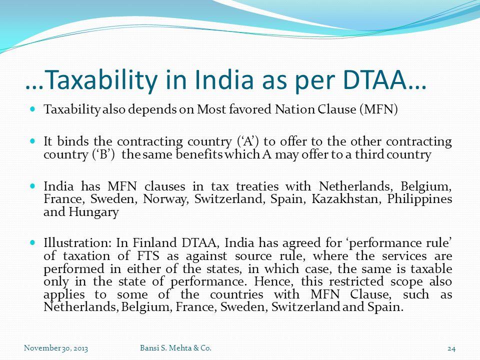 …Taxability in India as per DTAA…
