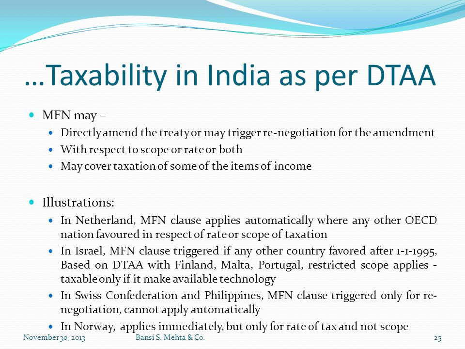 …Taxability in India as per DTAA