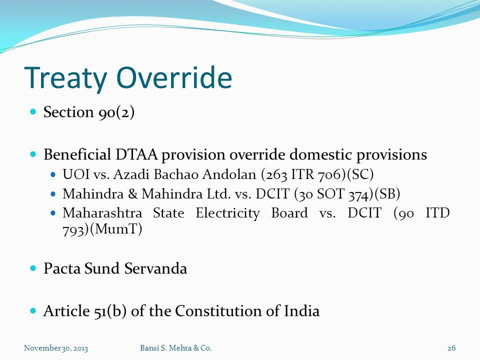 Treaty Override Section 90(2)