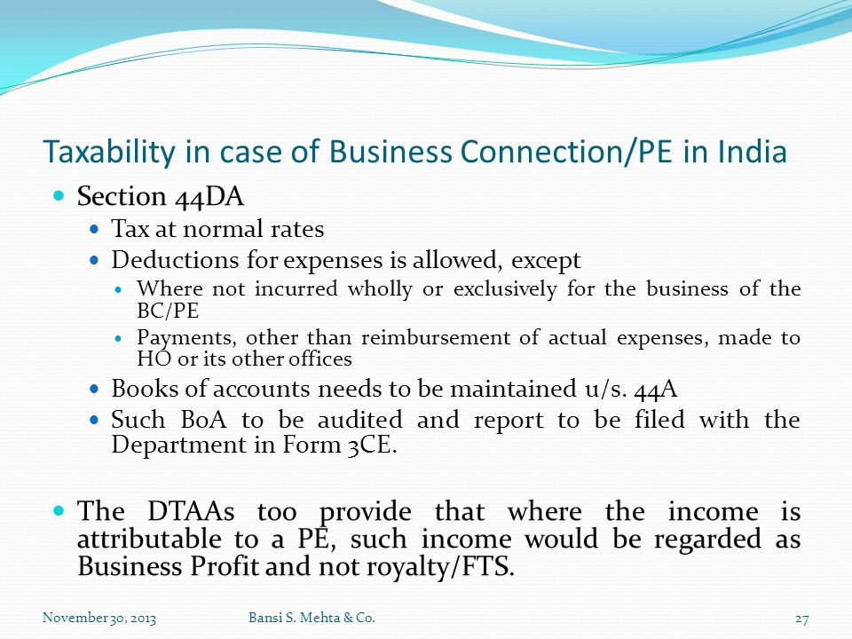 Taxability in case of Business Connection/PE in India