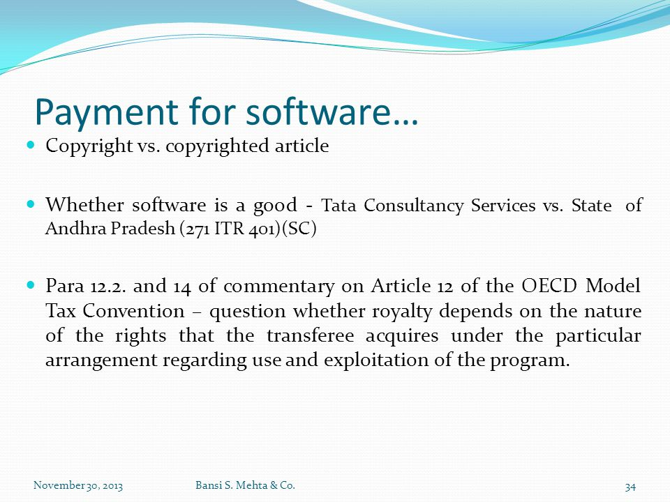 Payment for software… Copyright vs. copyrighted article