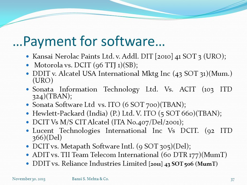 …Payment for software…