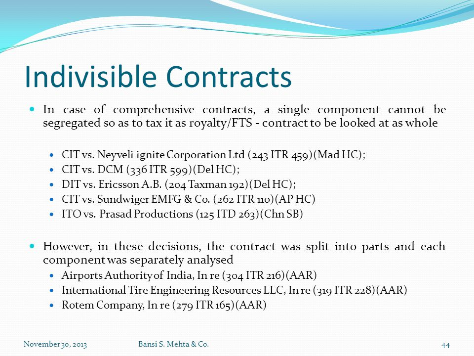 Indivisible Contracts