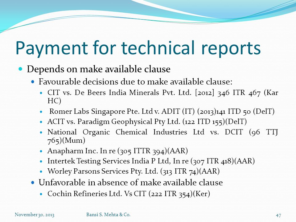 Payment for technical reports