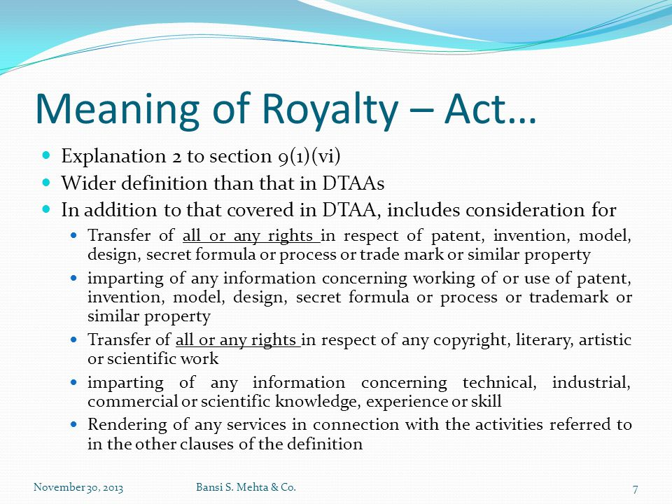 Meaning of Royalty – Act…