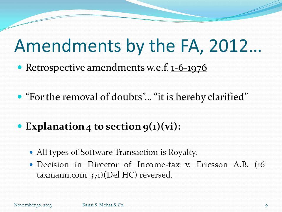 Amendments by the FA, 2012… Retrospective amendments w.e.f. 1-6-1976