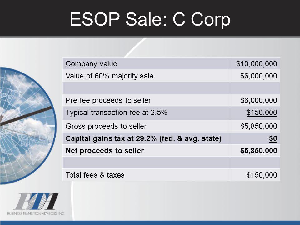 ESOP Sale: C Corp Company value $10,000,000 Value of 60% majority sale
