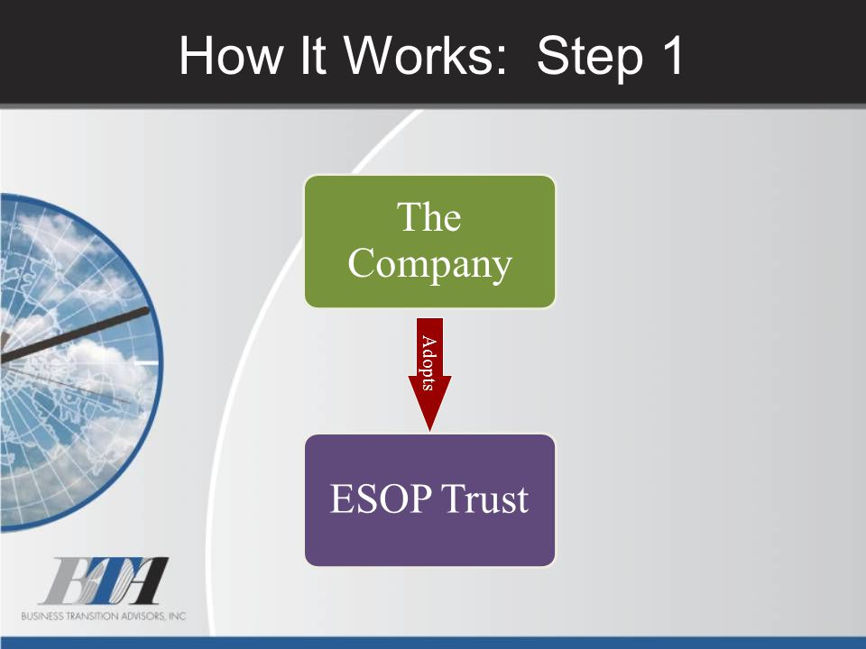 How It Works: Step 1 The Company Adopts ESOP Trust