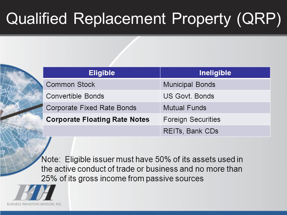 Qualified Replacement Property (QRP)