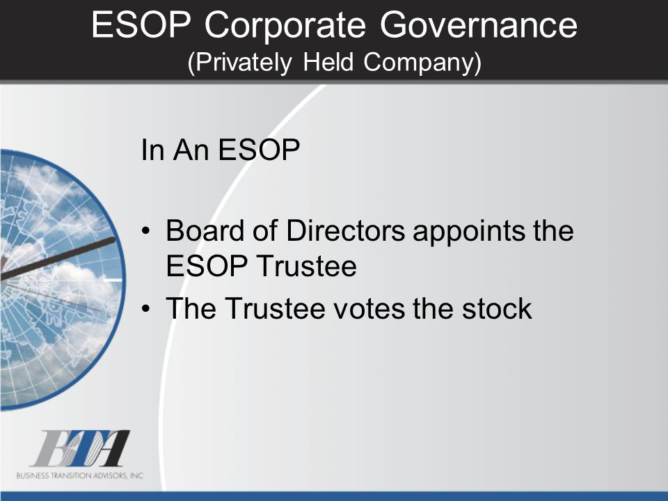 ESOP Corporate Governance (Privately Held Company)